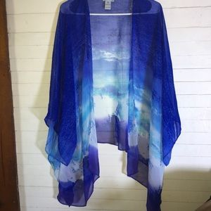 Catherines Open Front Kimono Style Cover Up Blouse